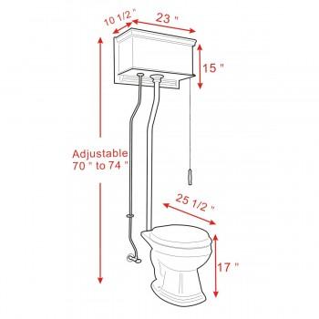 spec-<PRE>Cherry High Tank Toilet Pull Chain Bone China Round Bowl Brass LPipe</PRE>