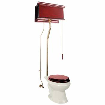 Cherry High Tank Toilet Biscuit Elongated Brass 16025grid
