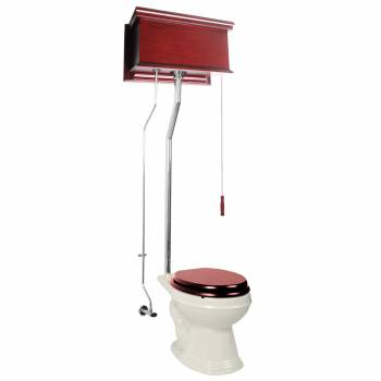 Cherry High Tank Toilet Biscuit Elongated Chrome 16027grid