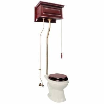 High Tank Toilet Biscuit Cherry Finish Round L-Pipe 16028grid