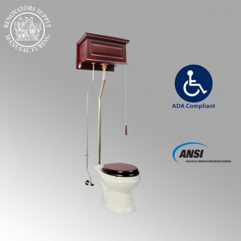 Toilets - Cherry Finish Raised Panel Elongated High Tank Toilet L-pipe - Brass PVD by the Renovator's Supply
