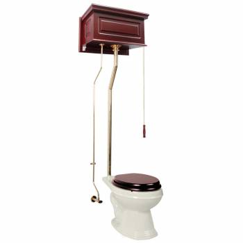 Cherry High Tank L-Pipe Toilet Elongated Biscuit Bowl  16029grid