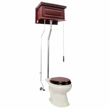 Cherry High Tank L-Pipe Toilet Elongated Biscuit Bowl 16031grid