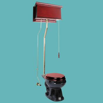 <PRE>Cherry High Tank Pull Chain Toilet With Black Round Bowl and Brass Rear Entry</PRE>zoom2