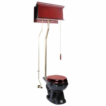 Cherry High Tank Pull Chain Toilet With Black Round Bowl and Brass Rear Entry16032grid