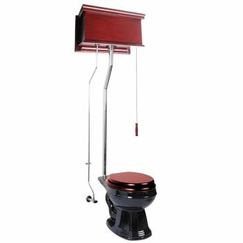 Cherry High Tank Pull Chain Toilet Black Round Chrome 16034grid