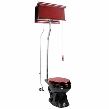 Cherry High Tank Pull Chain Toilet Black Elongated Chrome 16035grid