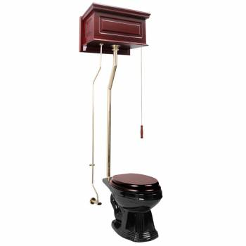 Cherry High Tank L-Pipe Toilet Elongated Black Bowl 16037grid