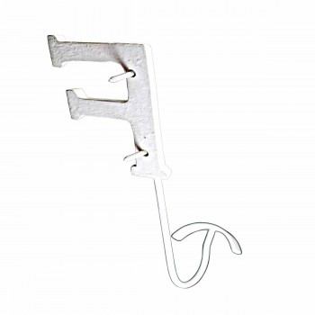 <PRE>Letter Hook F Wrought Iron White Decorative </PRE>zoom5