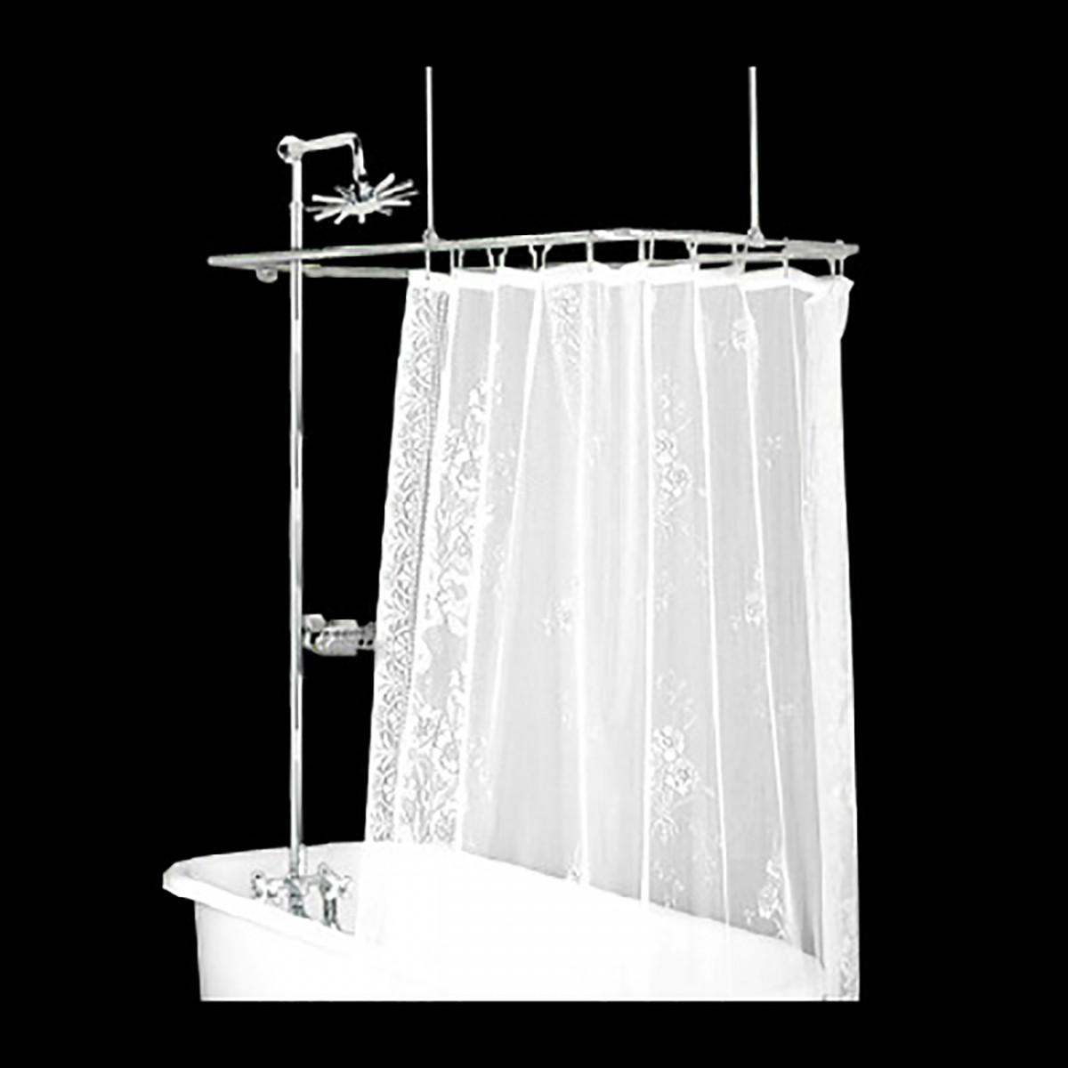Shower Surround Chrome Rect Cross Handle Faucet Deck Mount