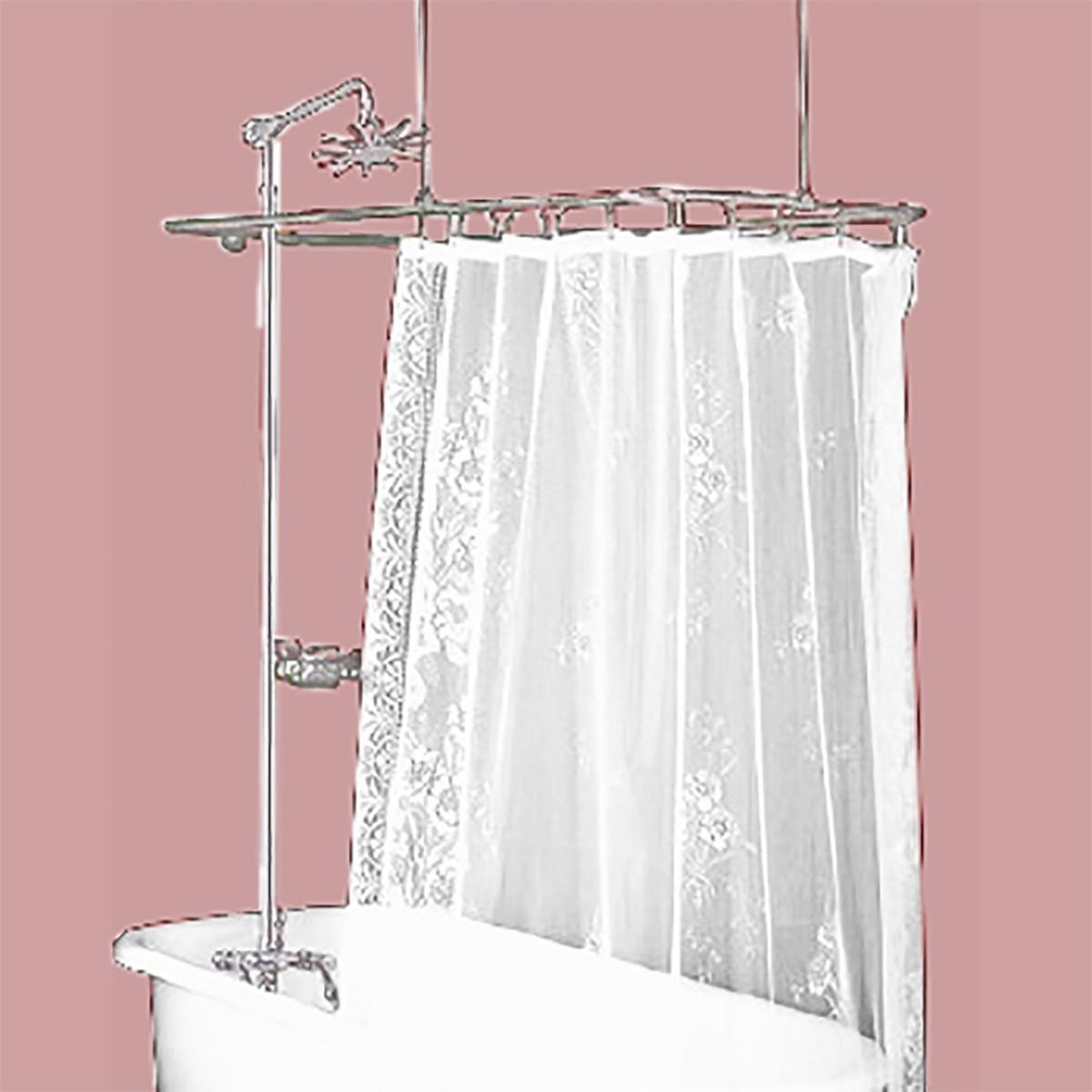 Clawfoot Tub Shower Surround Brass Rectangula
