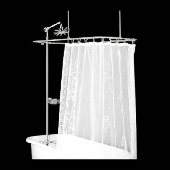 Shower Surround Bright Chrome Rectangle Porcelain Tub 16145grid
