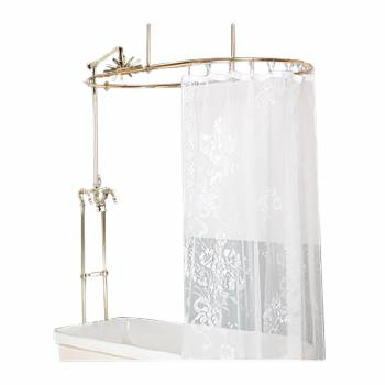 Clawfoot Tub Oval Shower Surround Freestanding Faucet PVD 16151grid