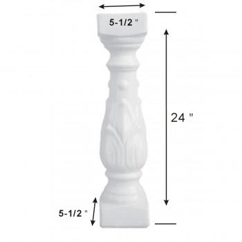 spec-<PRE>Balustrade Part White Ceramic Baluster 24&quot; High </PRE>