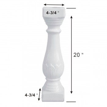 "spec-<PRE>Balustrade Part White Ceramic Baluster 20"" High </PRE>"