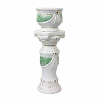 Planters White Ceramic Pedestal and Vase 35.5H Planter Planters Ceramic Planters