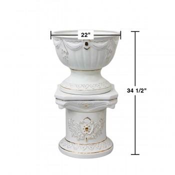 """spec-<PRE>Planters White/Gold Ceramic Pedestal and Vase 34.5""""H </PRE>"""
