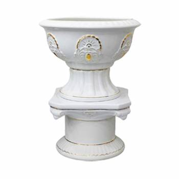 Planters White Ceramic Pedestal and Vase 31H Planter Planters Ceramic Planters
