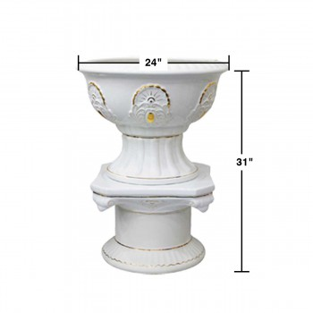 "spec-<PRE>Planters White Ceramic Pedestal and Vase 31""H </PRE>"