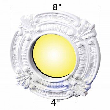 Ceiling Medallions - Recessed Lighting Trim Acanthus Crest 4 in. ID x 8 in. OD by the Renovator's Supply