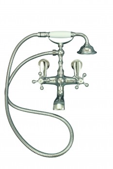 Wall Mount Clawfoot Tub Faucet and Telephone Shower Chrome16557grid