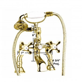 spec-<PRE>Deck-Mount Clawfoot Tub Faucet &amp;Telephone Shower Gold PVD </PRE>
