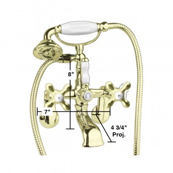 spec-<PRE>Brass Faucet Hand Shower 58&quot; Hose Clawfoot Tub </PRE>