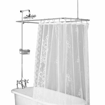 Clawfoot Tub Deck Mount Shower Set Rectangular Enclosure 16571grid