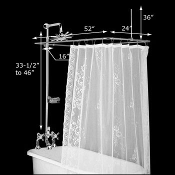 spec-<PRE>Clawfoot Tub Deck Mount Shower Set Rectangular Enclosure </PRE>
