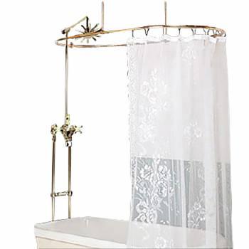 Freestanding Clawfoot Tub Shower Set Oval Enclosure Gold 16573grid