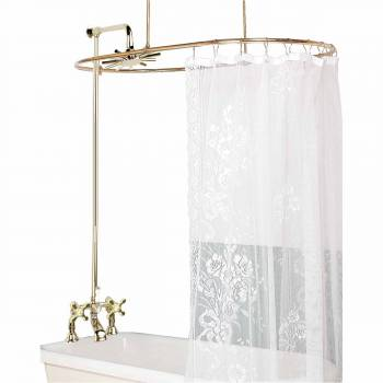 Clawfoot Tub Deck Mount Shower Set Oval Enclosure Gold 16574grid