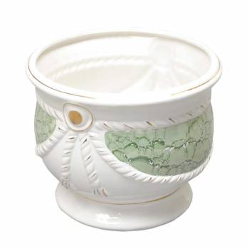<PRE>Planters White/Green Ceramic Vase 9.5inchH </PRE>zoom1