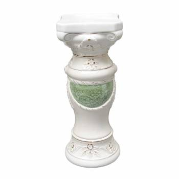 Planters WhiteGreen Ceramic Ornate Pedestal 26H Planter Planters Ceramic Planters