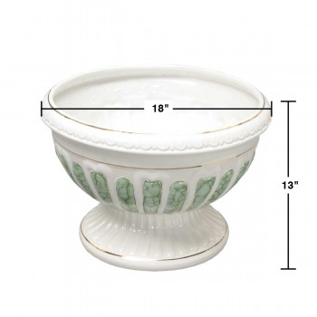 "spec-<PRE>Planters White/Green Ceramic Vase 13""H </PRE>"
