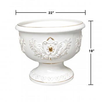 spec-<PRE>Planters White/Gold Ceramic Vase 19&quot;H </PRE>