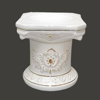 <PRE>Planters White/Gold Ceramic Ornate Pedestal 15.5inchH </PRE>zoom2