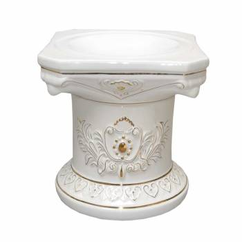 Planters White/Gold Ceramic Ornate Pedestal 15.5