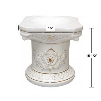 spec-<PRE>Planters White/Gold Ceramic Ornate Pedestal 15.5&quot;H </PRE>