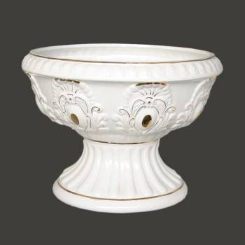 Planter WhiteGold Ceramic Ornate Vase 10 H 14 Dia Elegant Ornate Ceramic Planter Vase Planters Ceramic Planters