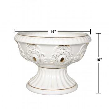 spec-<PRE>Planter White/Gold Ceramic Ornate Vase 10&quot; H 14&quot; Dia</PRE>