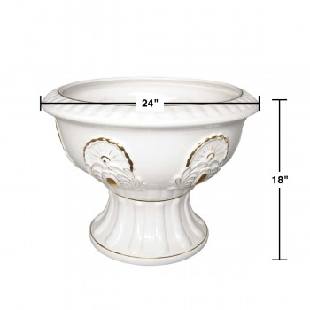 "spec-<PRE>Planters White/Gold Ceramic Ornate Vase 18""H </PRE>"