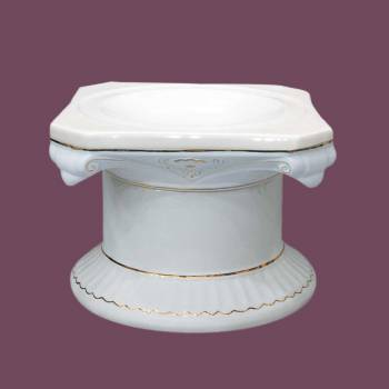 <PRE>Planters White/Gold Ceramic Ornate Pedestal 13inchH </PRE>zoom2