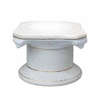 <PRE>Planters White/Gold Ceramic Ornate Pedestal 13inchH </PRE>zoom1