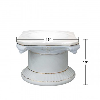 "spec-<PRE>Planters White/Gold Ceramic Ornate Pedestal 13""H </PRE>"