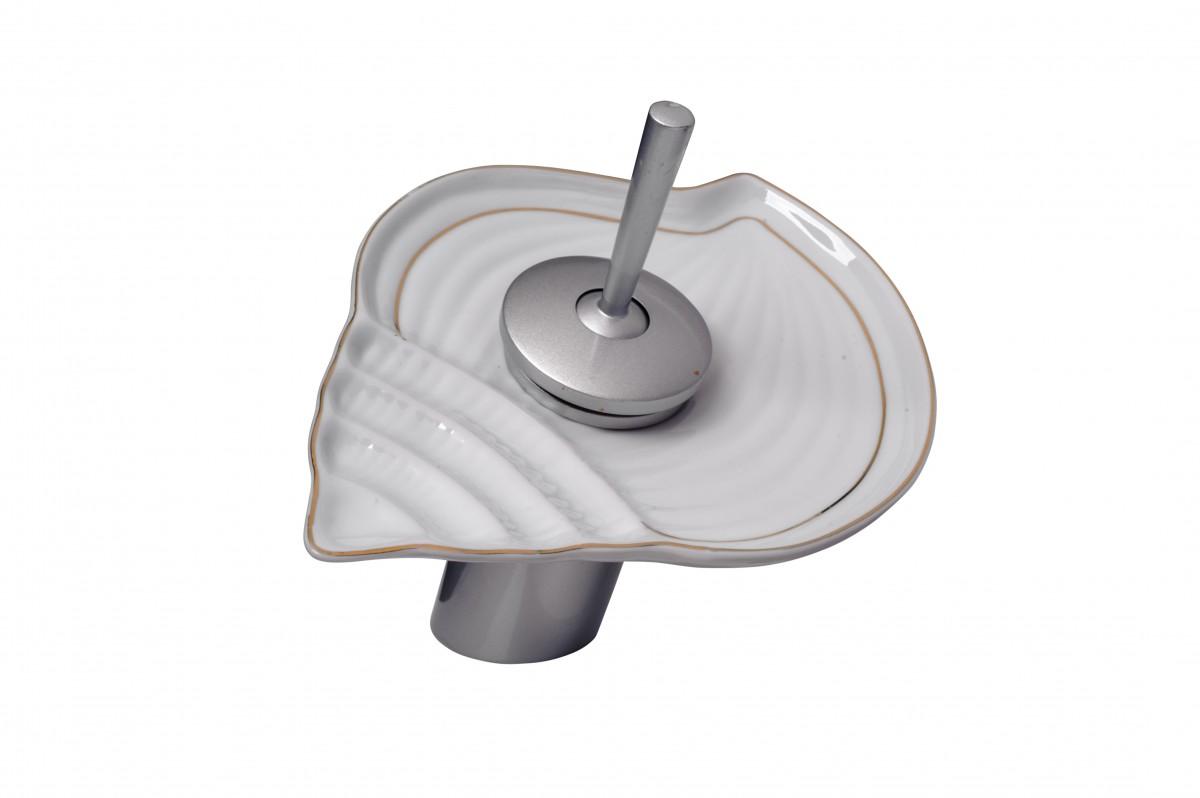 Ceramic Brass Waterfall Faucet Short Satin Nickel 7 H Glass plate Waterfall Sink Faucet Waterfall Bathroom Faucets Glass Disk Faucet