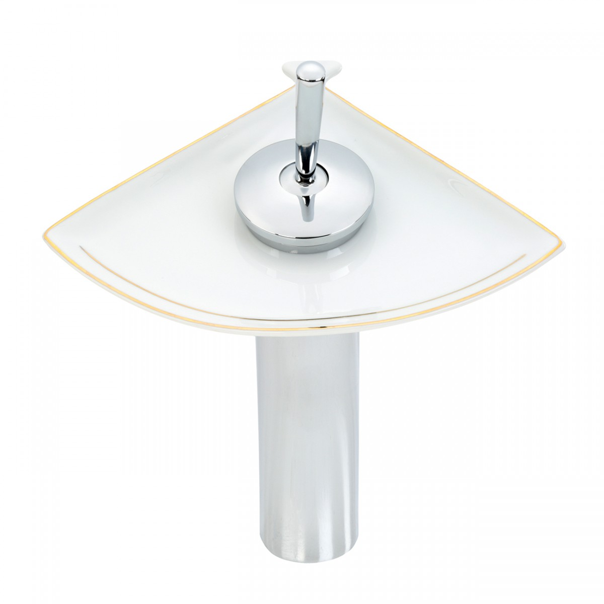 Waterfall Faucet Cast Brass Chrome Tall Ceramic 12 H Glass plate Waterfall Sink Faucet Waterfall Bathroom Faucets Glass Disk Faucet
