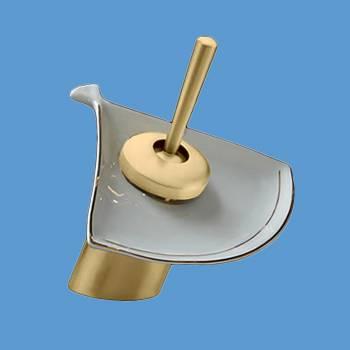 Waterfall Faucet Cast Anitque Brass Short Ceramic 7 H Glass plate Waterfall Sink Faucet Waterfall Bathroom Faucets Glass Disk Faucet