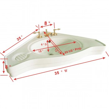 spec-<PRE>Luxury Large Corner Console Sink Part Only Bone </PRE>