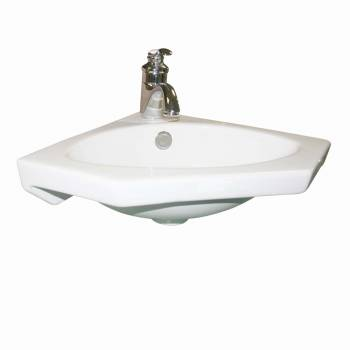 Modern Bathroom Wall Mount Corner Sink White Single Faucet Hole with Overflow16684grid