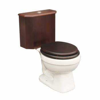 Round Toilet with Dark Oak Wood Tank and White China Bowl16771grid